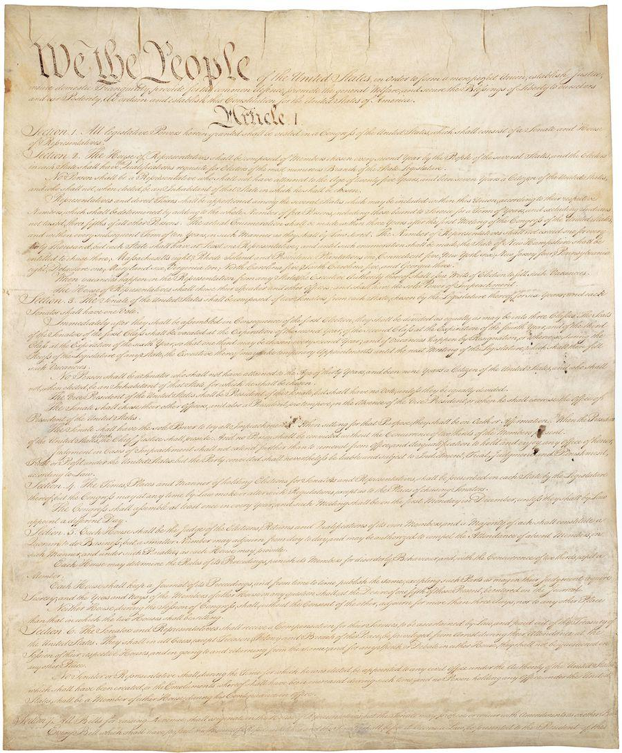 United States Constitution, Sheet 1