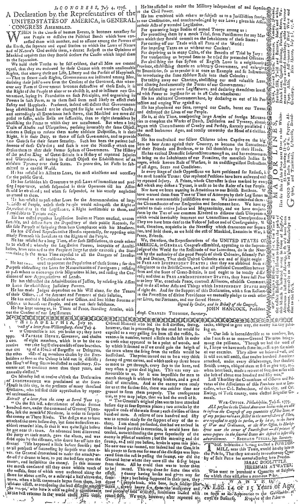 Page 2 of the Connecticut Journal, Printed by Thomas and Samuel Green, July 17, 1776