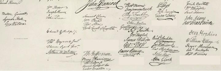 How the signatures on the engrossed parchment may have appeared on August 2, 1776