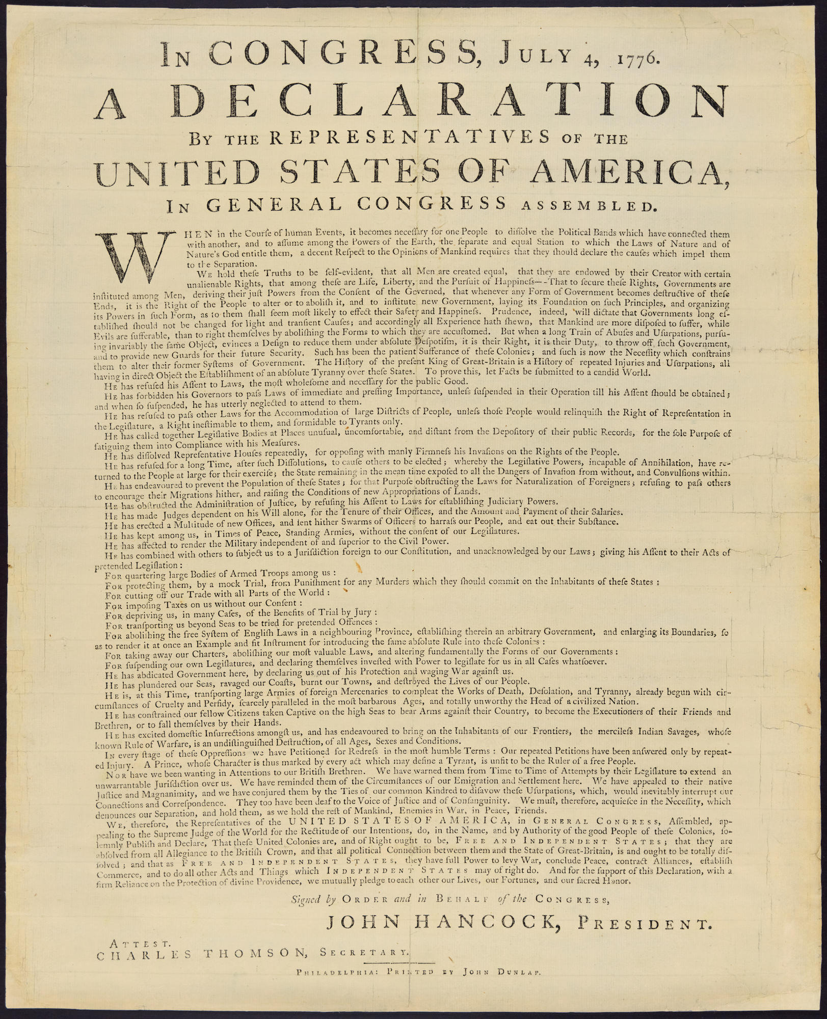 Dunlap Broadside