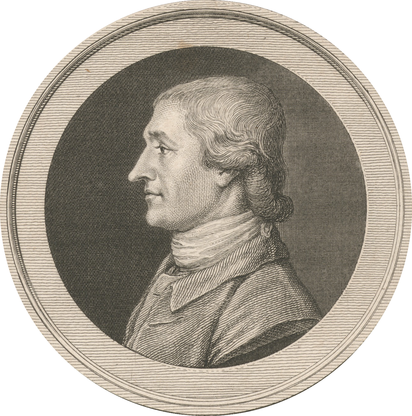 Engraving of Charles Thomson by Pierre Eugene du Simitiere, 1783, NYPL