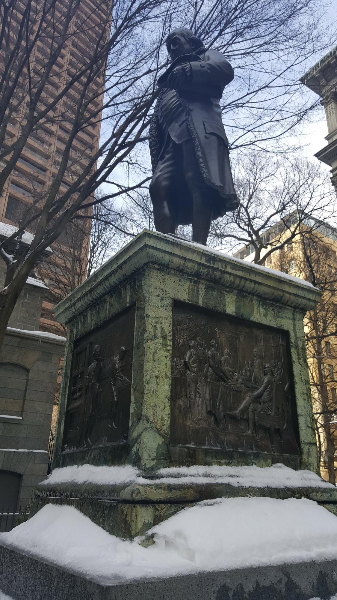 Benjamin Franklin Statue in Winter