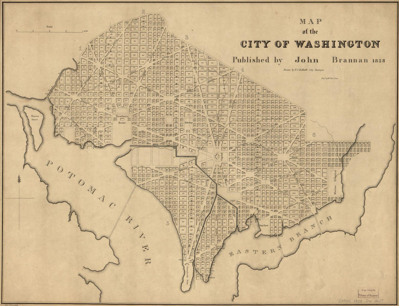 Map of the City of Washington, 1828