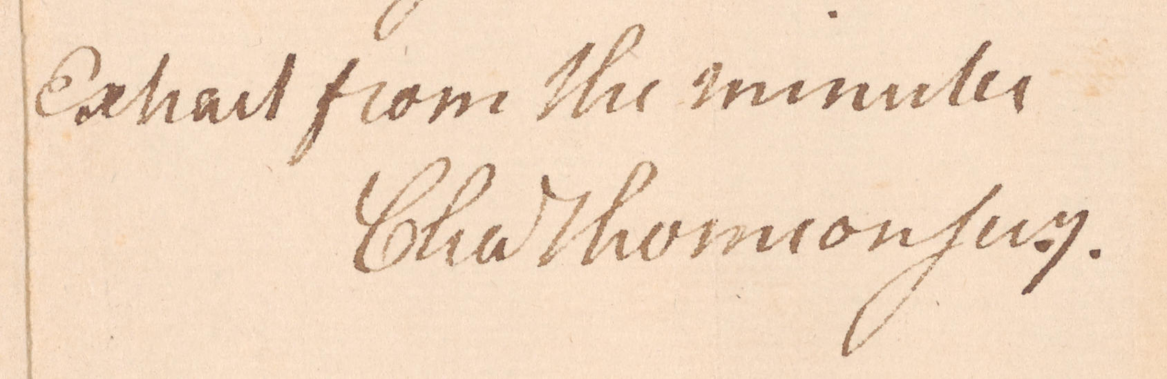 Detail from 1776 Resolution Signed by Charles Thomson, NYPL
