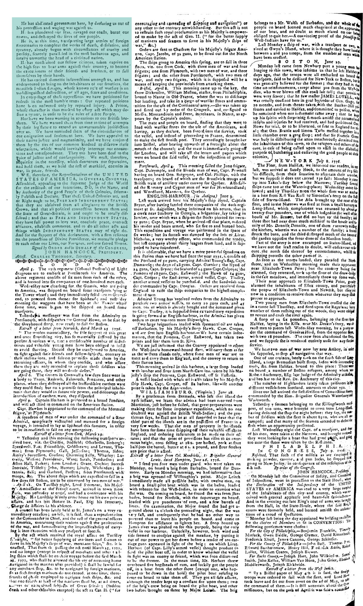 Second Page of Pennsylvania Journal, July 10, 1776