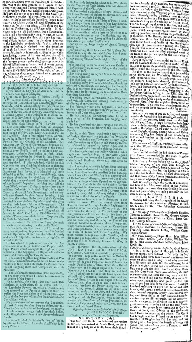 Second Page of Pennsylvania Ledger, July 13, 1776