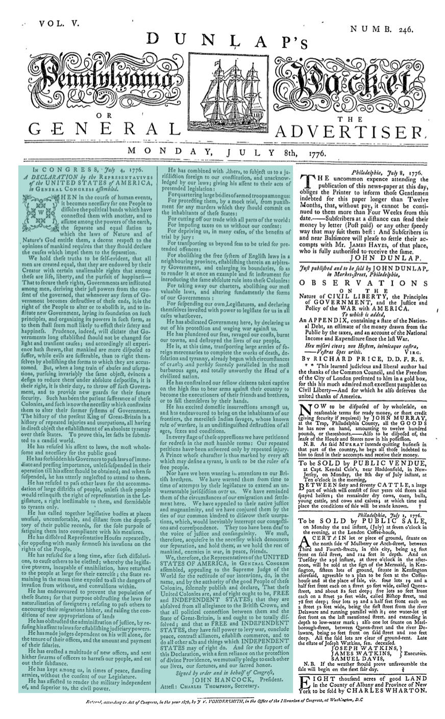 Front Page of Dunlap's Pennsylvania Packet, July 8, 1776