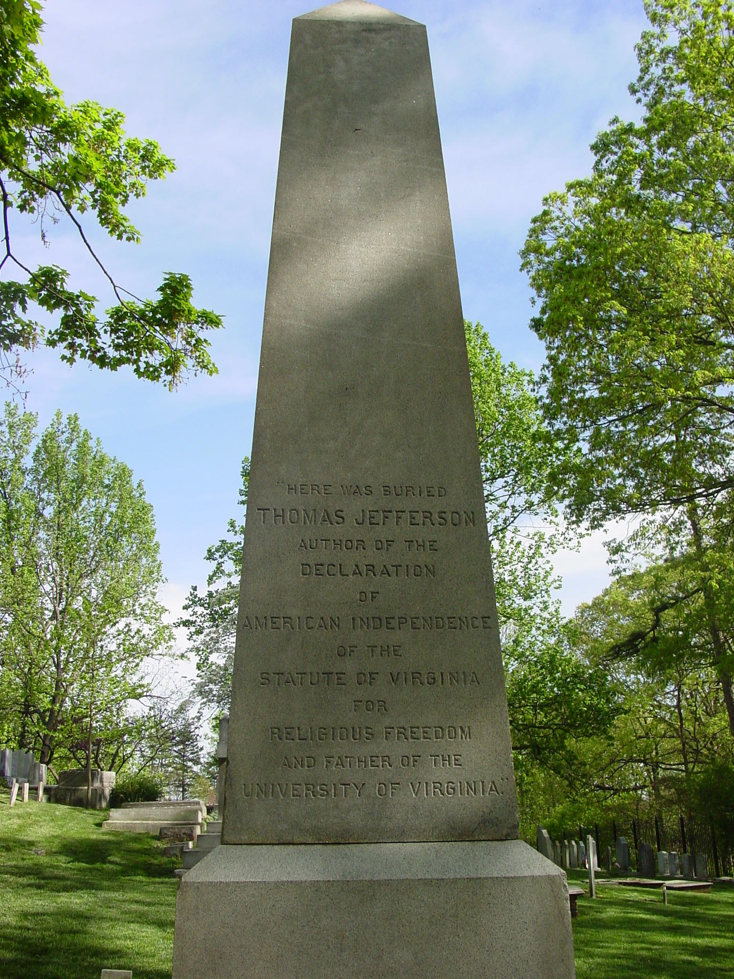 Marker for Thomas Jefferson's Grave