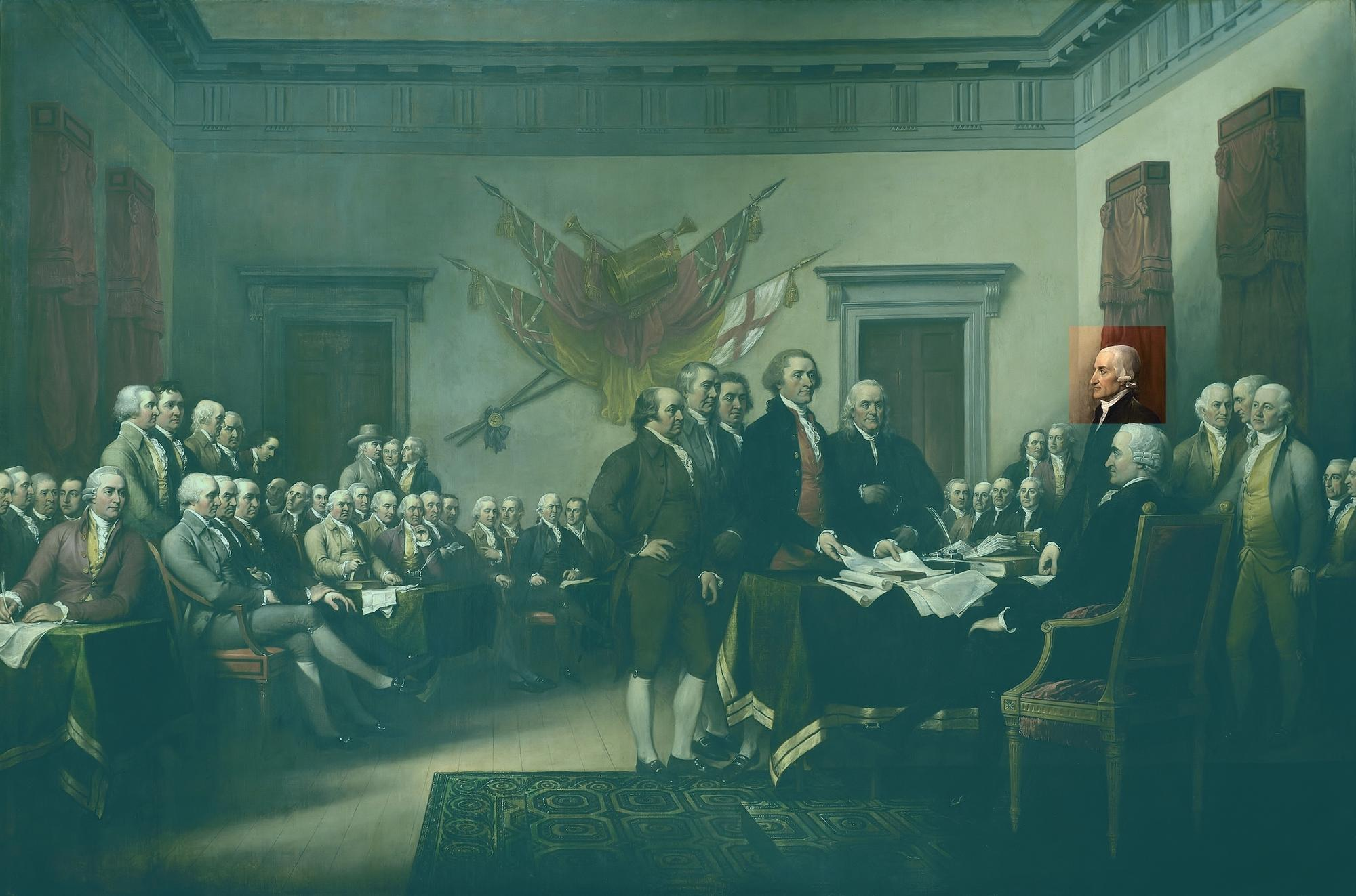 Vignette of Charles Thomson in John Trumbull's Declaration of Independence
