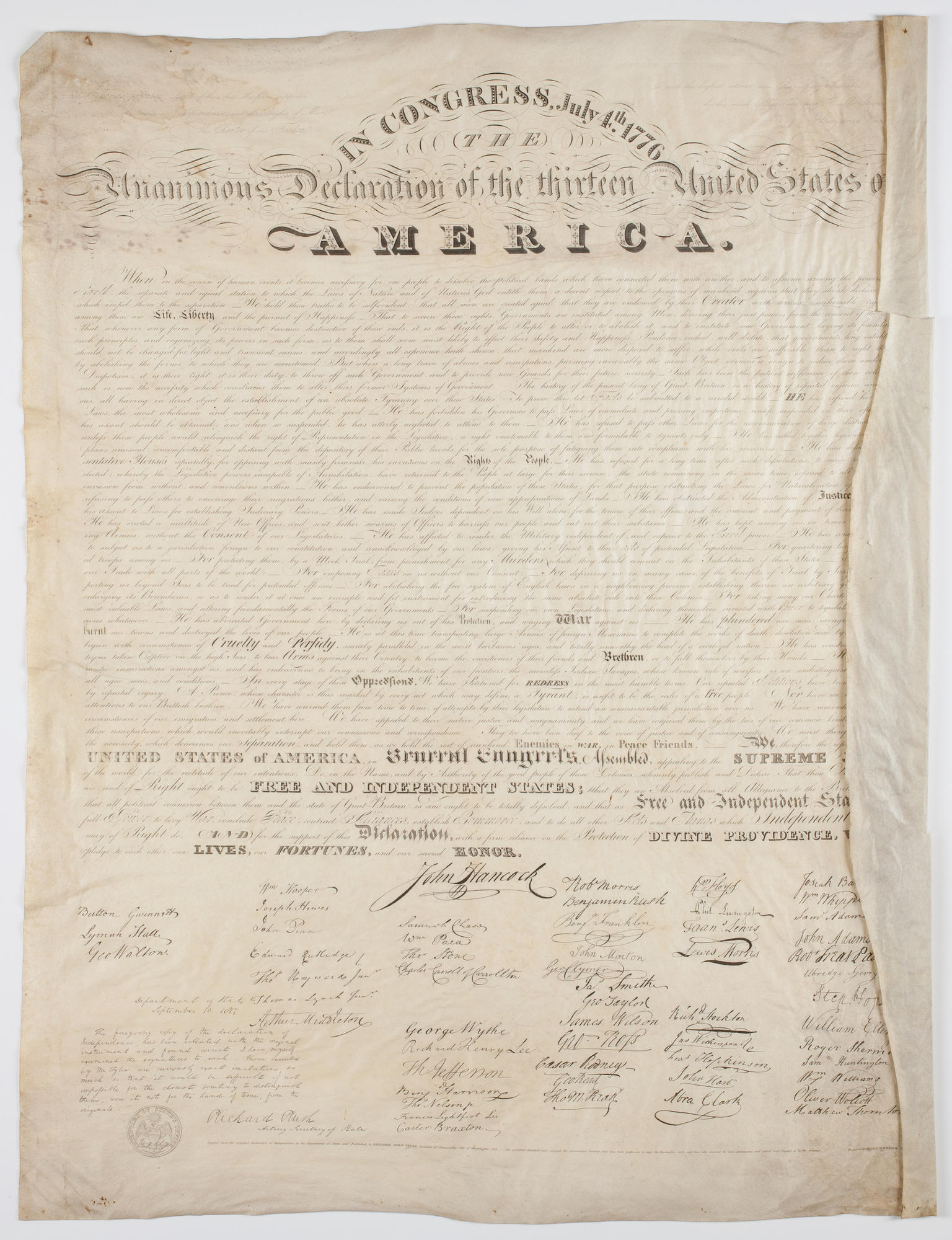 Benjamin Owen Tyler, Facsimile Engraving of the Declaration of Independence, 1818