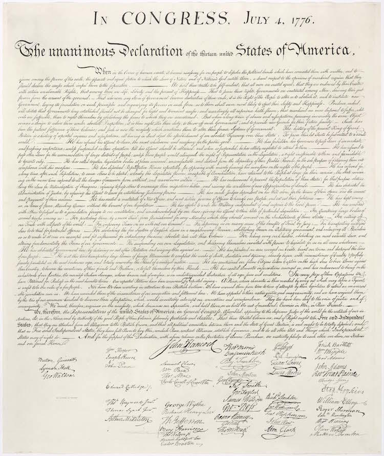 William J. Stone Engraving of the Declaration of Independence