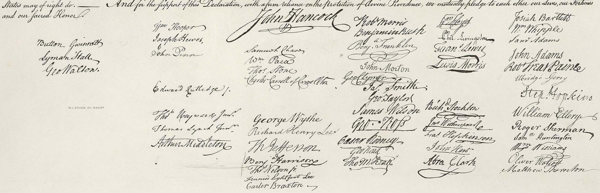 William J. Stone Facsimile of the Declaration of Independence, 1823 (Public Domain)