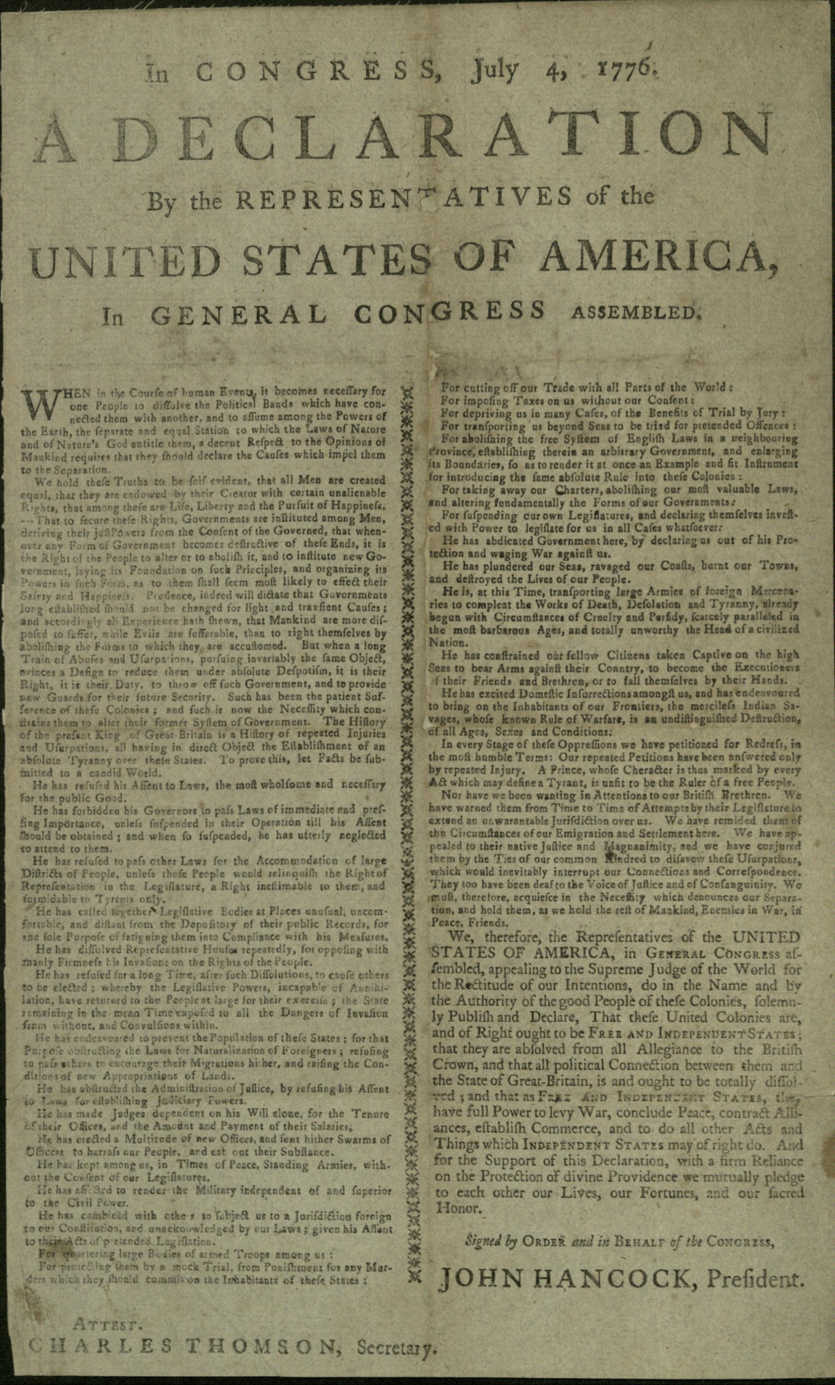 Broadside of the Declaration of Independence, Printed by Thomas and Samuel Green, New Haven, CT