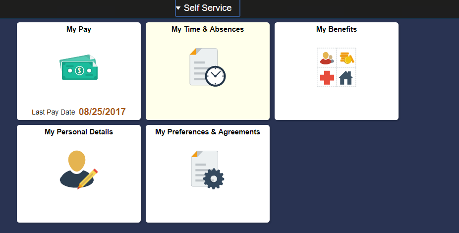 PeopleSoft Home Screen