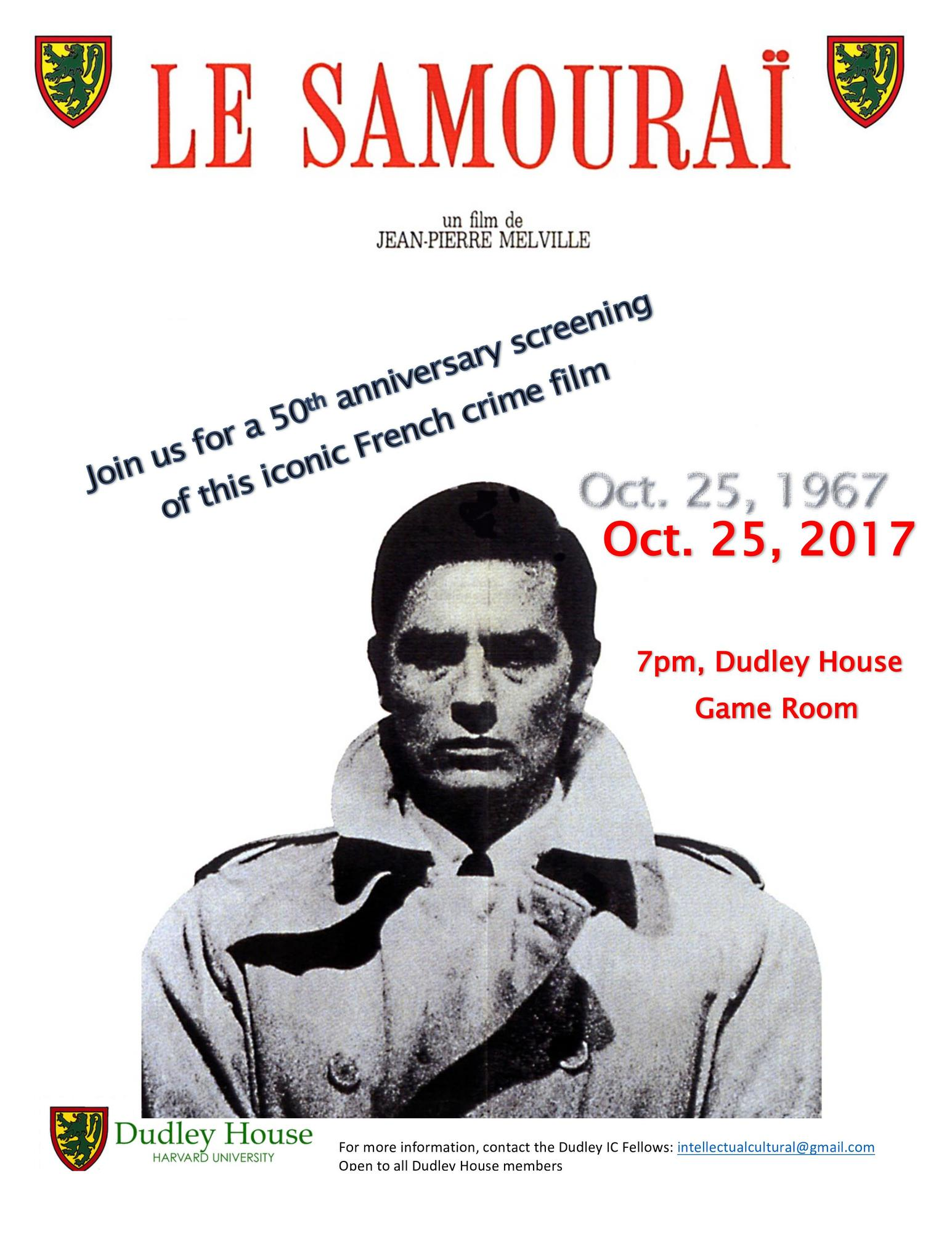 Le Samouraï - 50th anniversary film screening | Dudley House