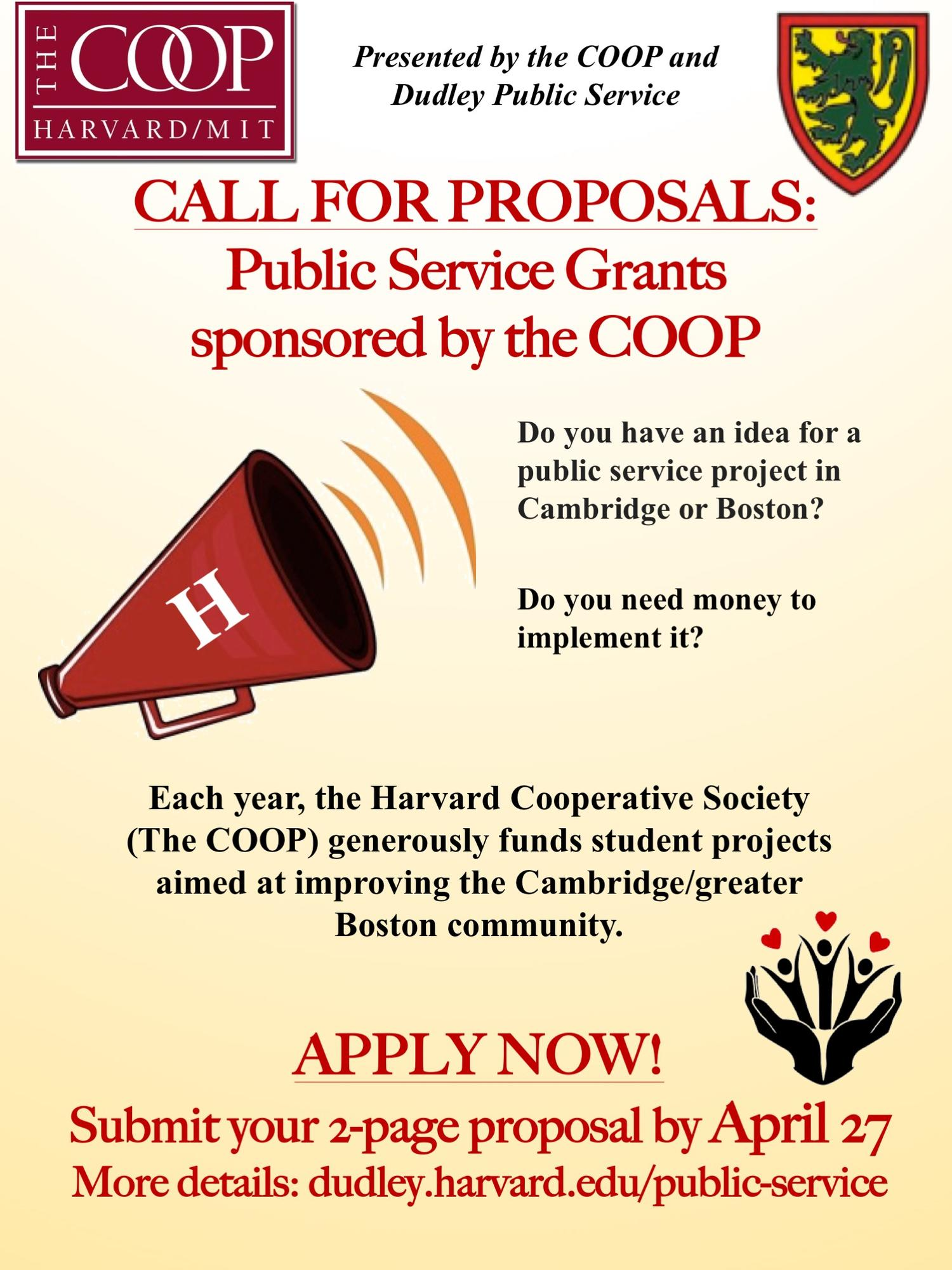 Call for Applications: Public Service Grants sponsored by the COOP