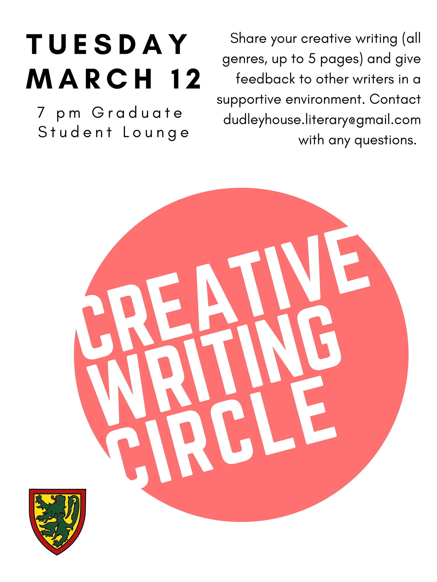 creative writing circle will be on march 12 at 7 pm in the graduate student lounge