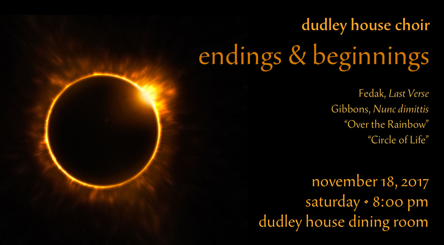 Poster for Endings & Beginnings: Dudley Choir fall concert