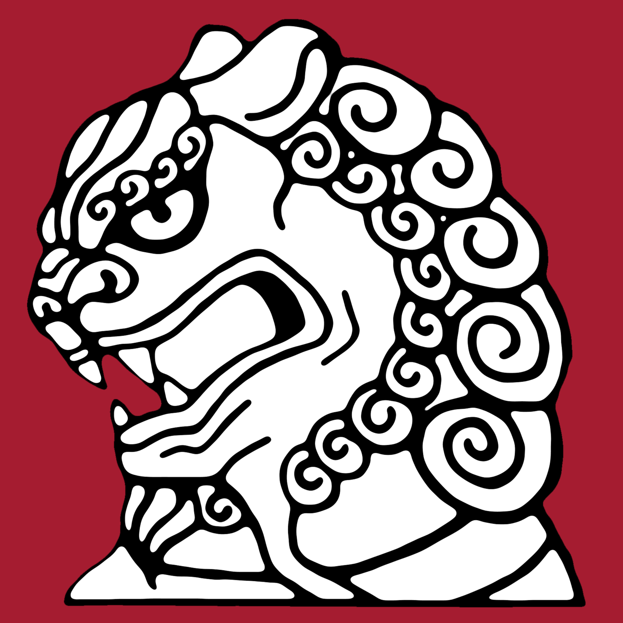Unofficial EALC logo: a line drawing of a Fu lion in profile, facing left, against a background of deep crimson