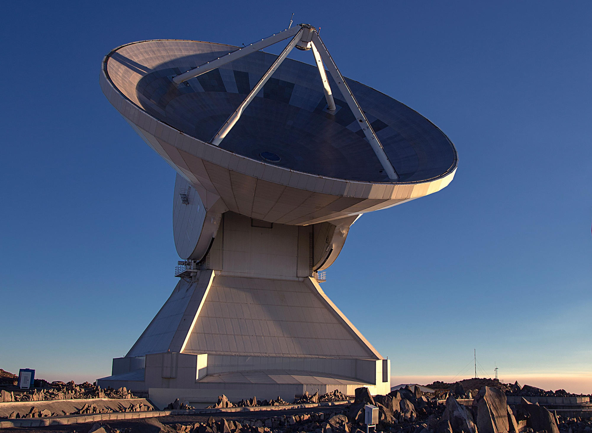 "Large Millimeter Telescope ""Alfonso Serrano"" at sunset."