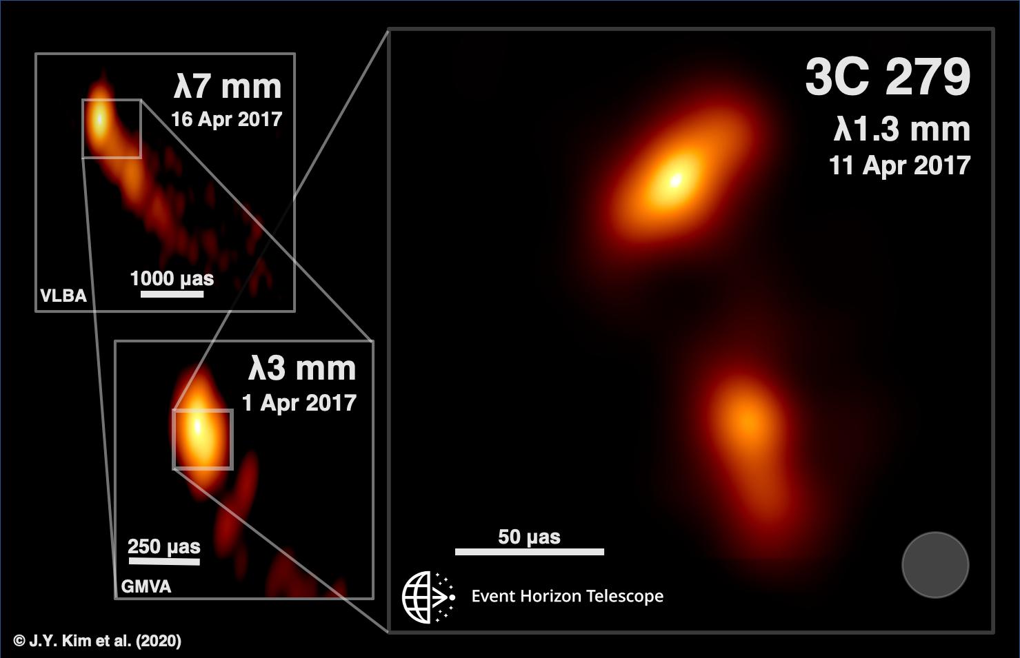 Event Horizon telescope billeder af kernen i Quasaren 3C279