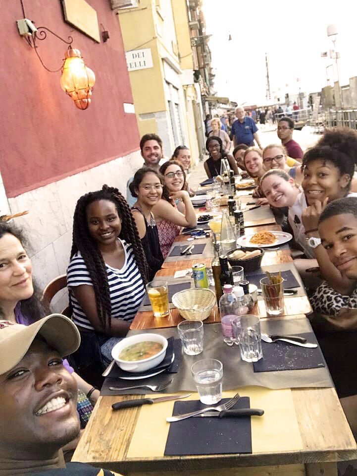 ESP Scholars at dinner in Venice, Italy.