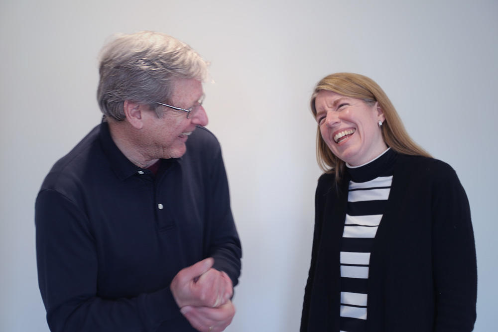 Image of Jeffry Frieden and Christina Davis laughing