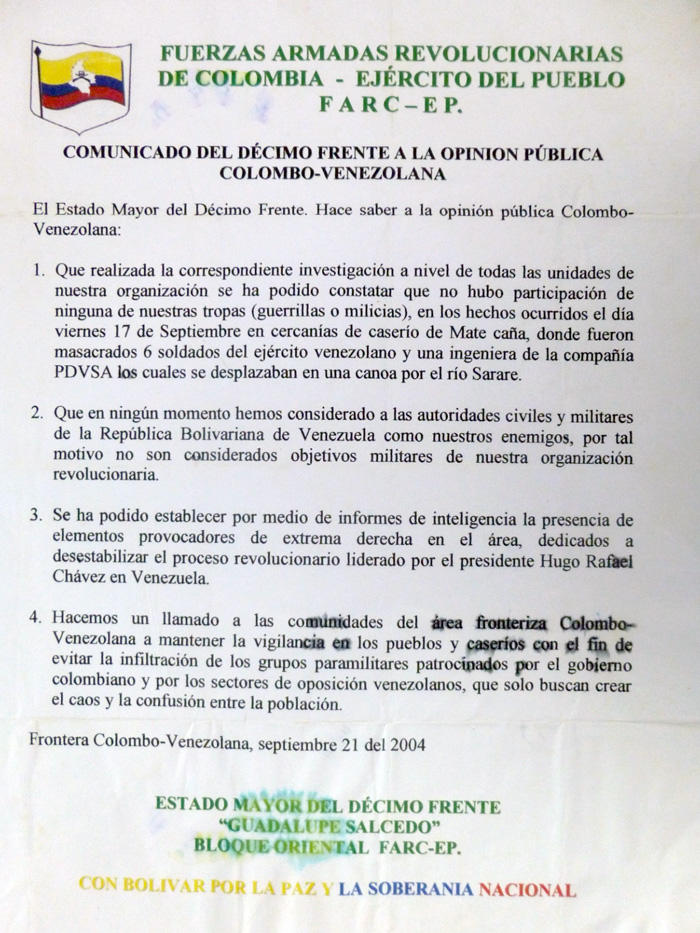 Image of a 2004 flyer the FARC distributed to citizens at the Colombian–Venezuelan border
