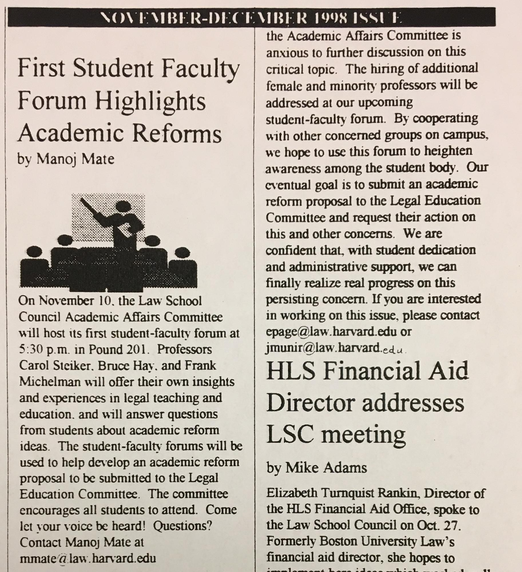 Harvard Law School Academic Report newsletter
