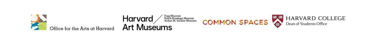 logos for: office for the arts at harvard, harvard art musuems, common spaces and harvard dean of students office