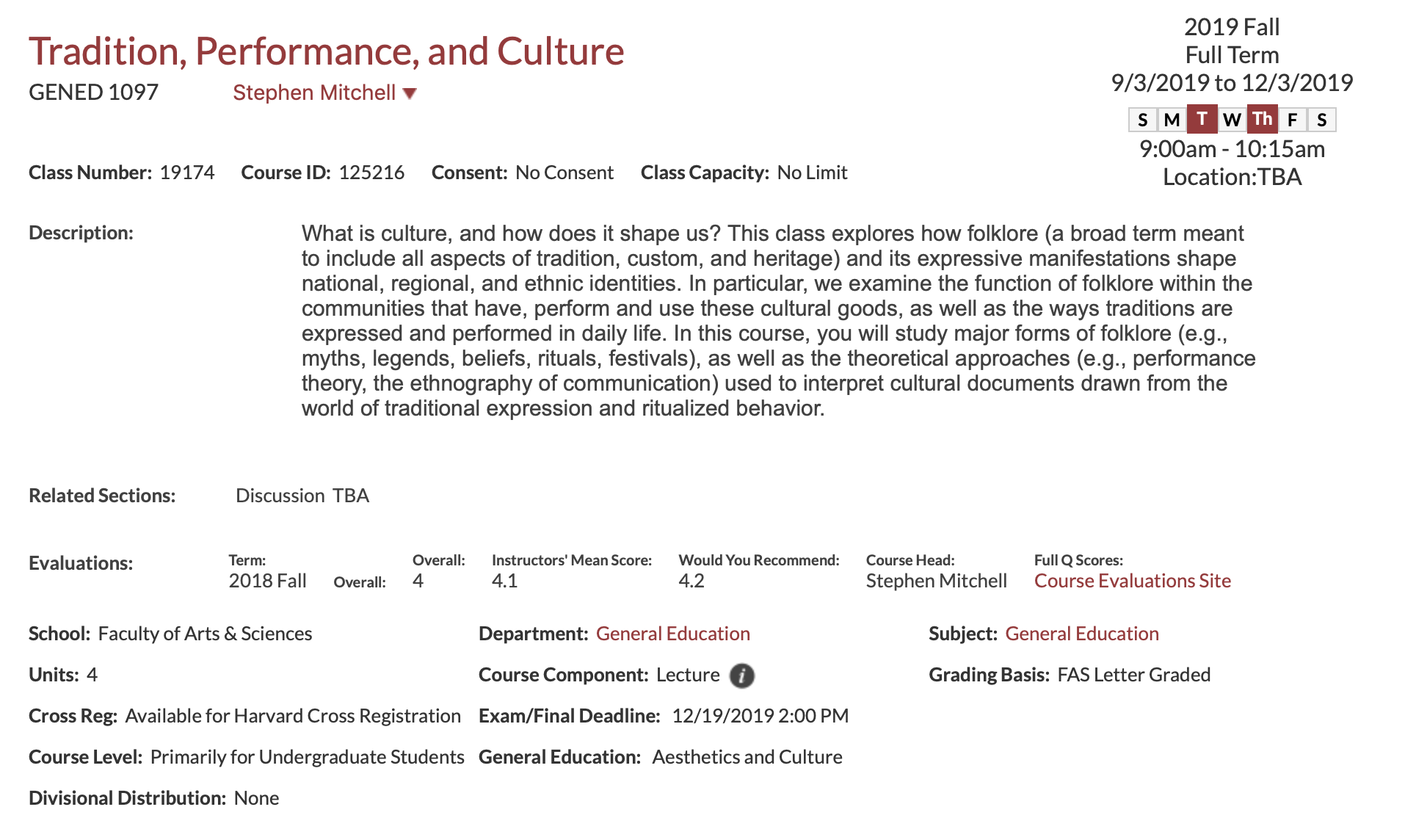 Courses | The Committee on Degrees in Folklore & Mythology