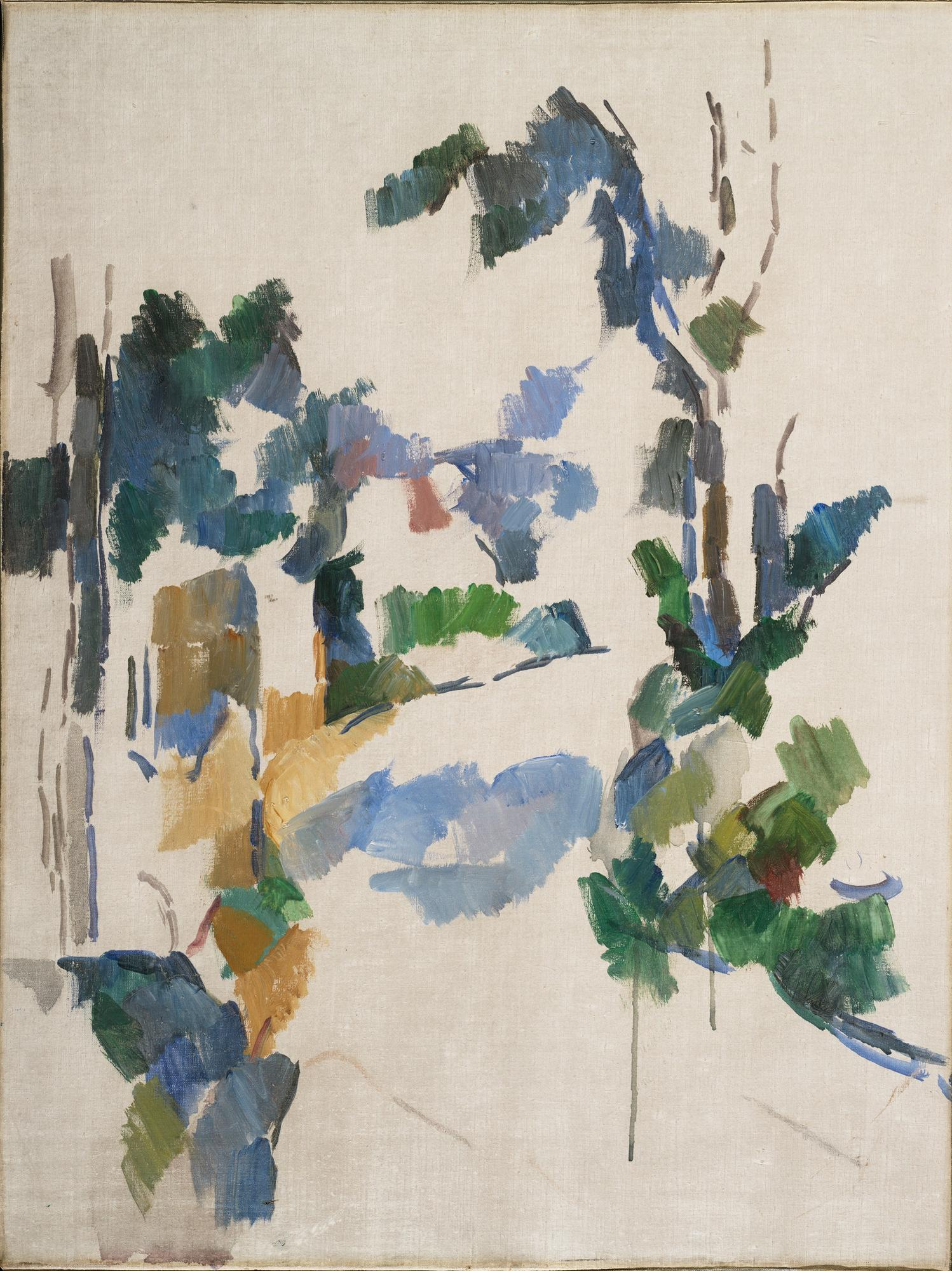 Paul Cezanne, unfinished painting of trees