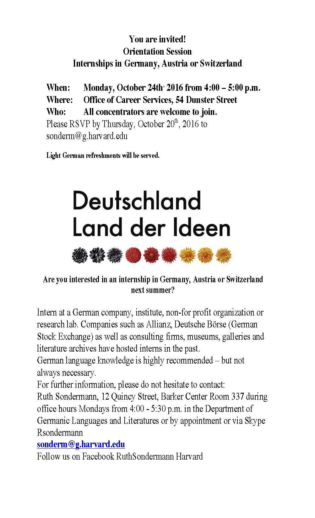 Work Abroad Internships In German Speaking Countries Department