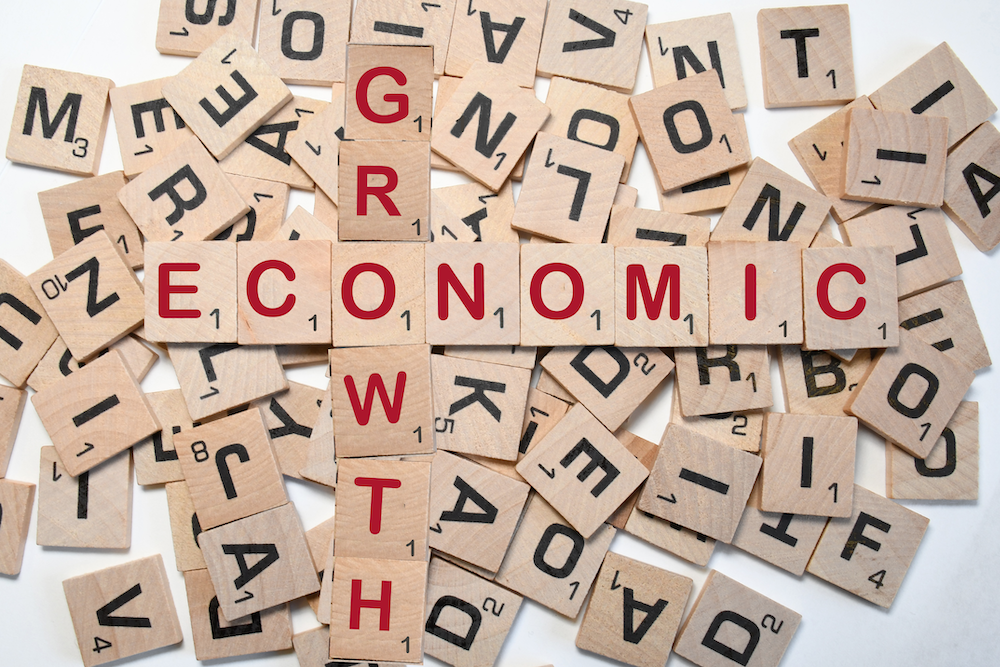 scrabble tiles spell economic growth