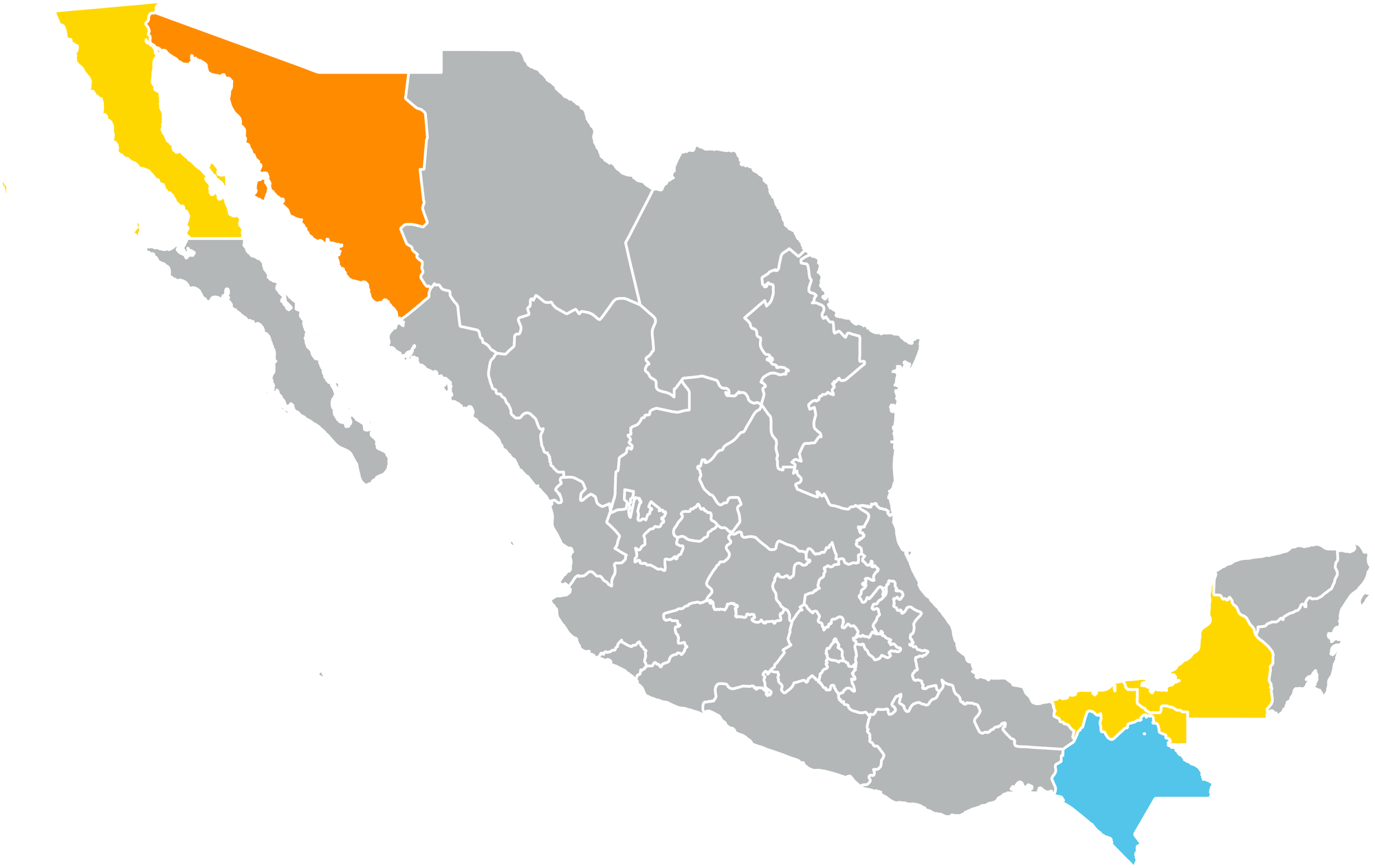 map of states of Mexico with Sonora, Campeche, Baja California, and Chiapas in color