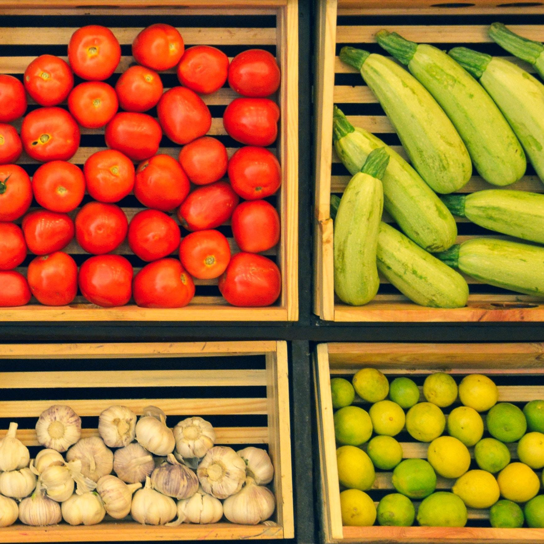 vegetables in wooden crates
