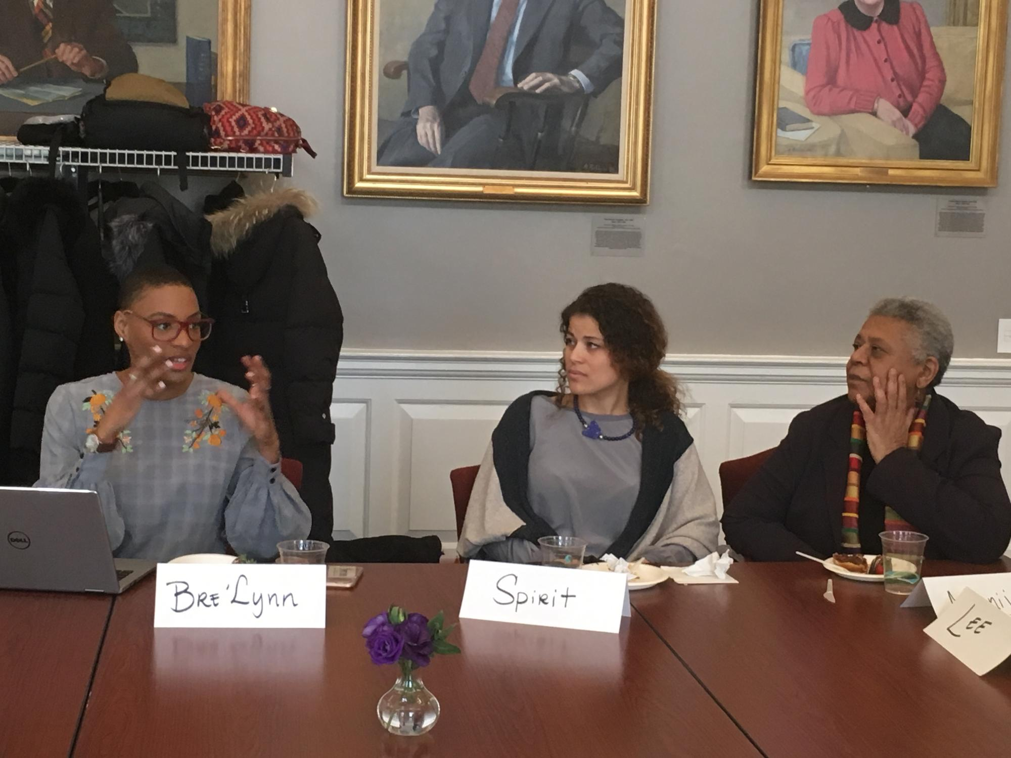 Image of three women, Bre'Lynn Lombard of the HGSE Black Student Union, Minnijean Roberts of the Little Rock Nine and her daughter Spirit Tawfiq