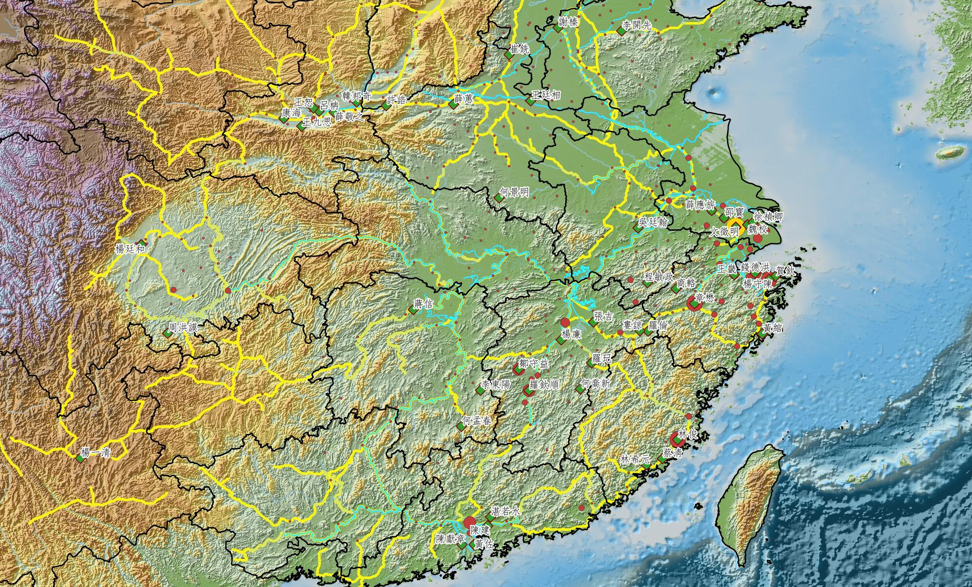 topographical map of china with multi-colored lines drawn on it