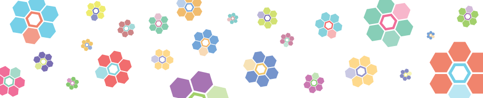Dataverse banner - hexagonal shapes in flower-like clusters