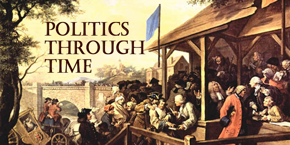 "Text of ""Politics Through Time"" overlaid on William Hogarth's painting ""The Polling"""