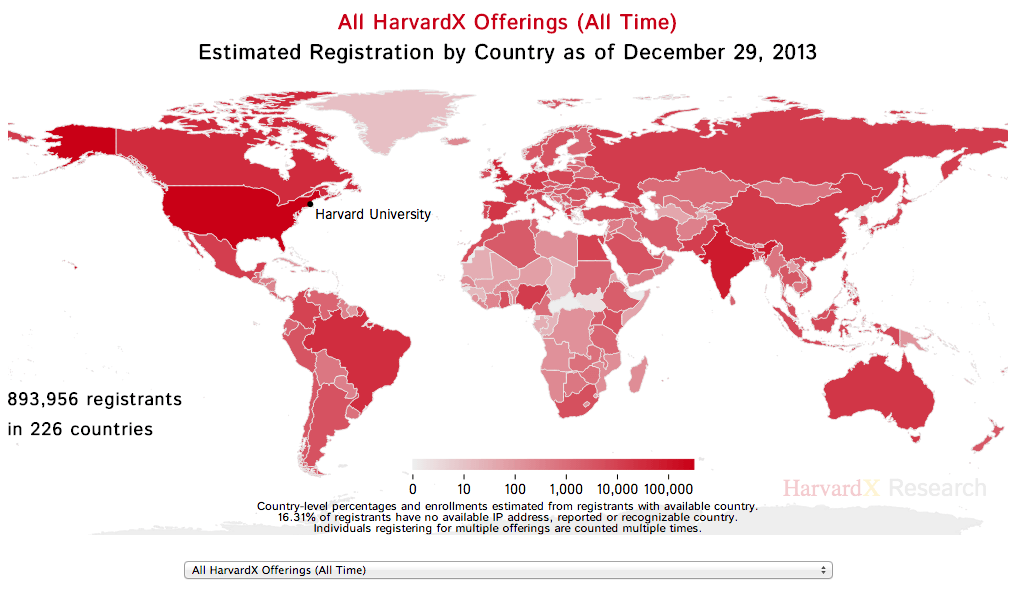 World map of HarvardX enrollment as of December 29, 2013