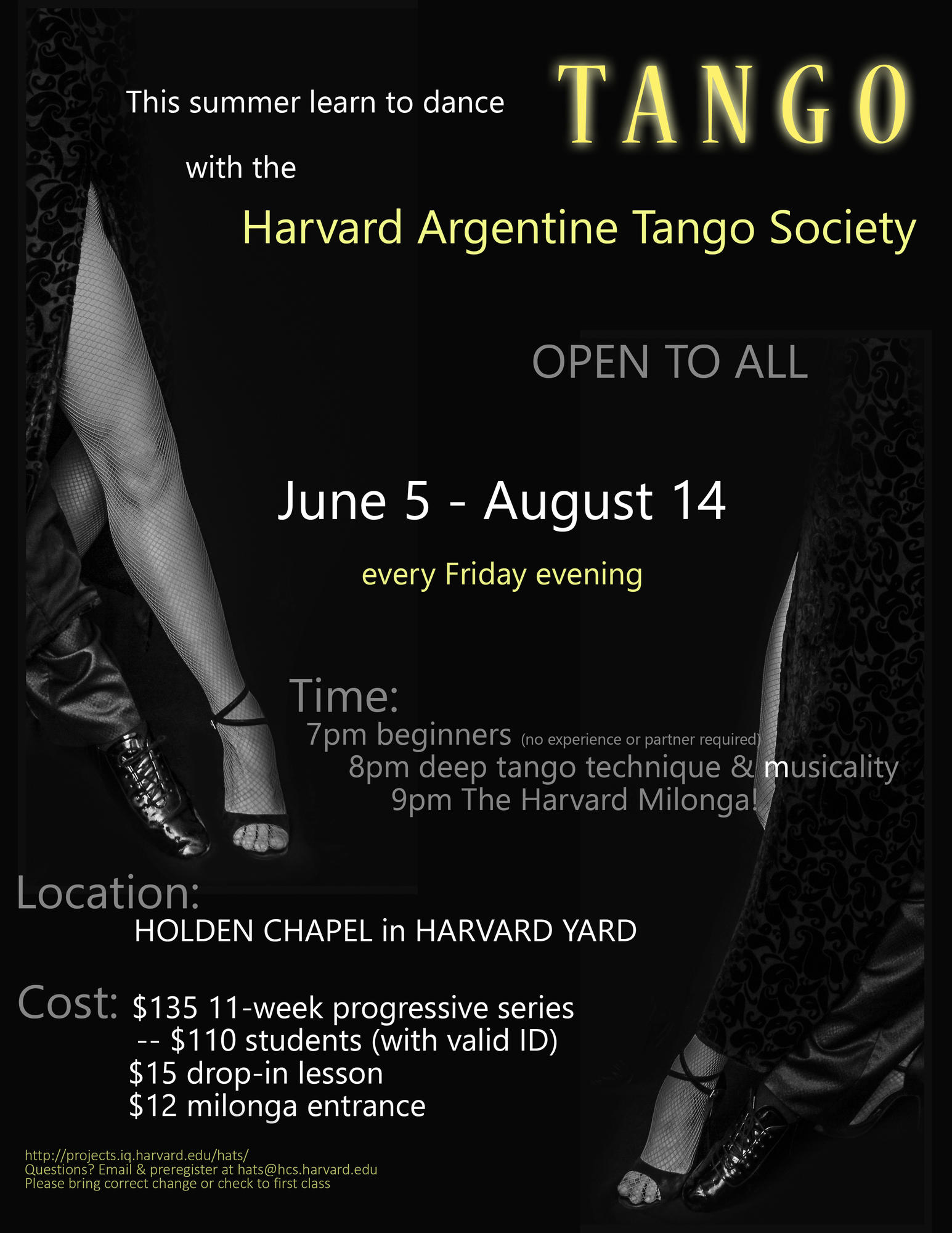 Harvard Argentine Tango Society presents its summer series of classes and milonga