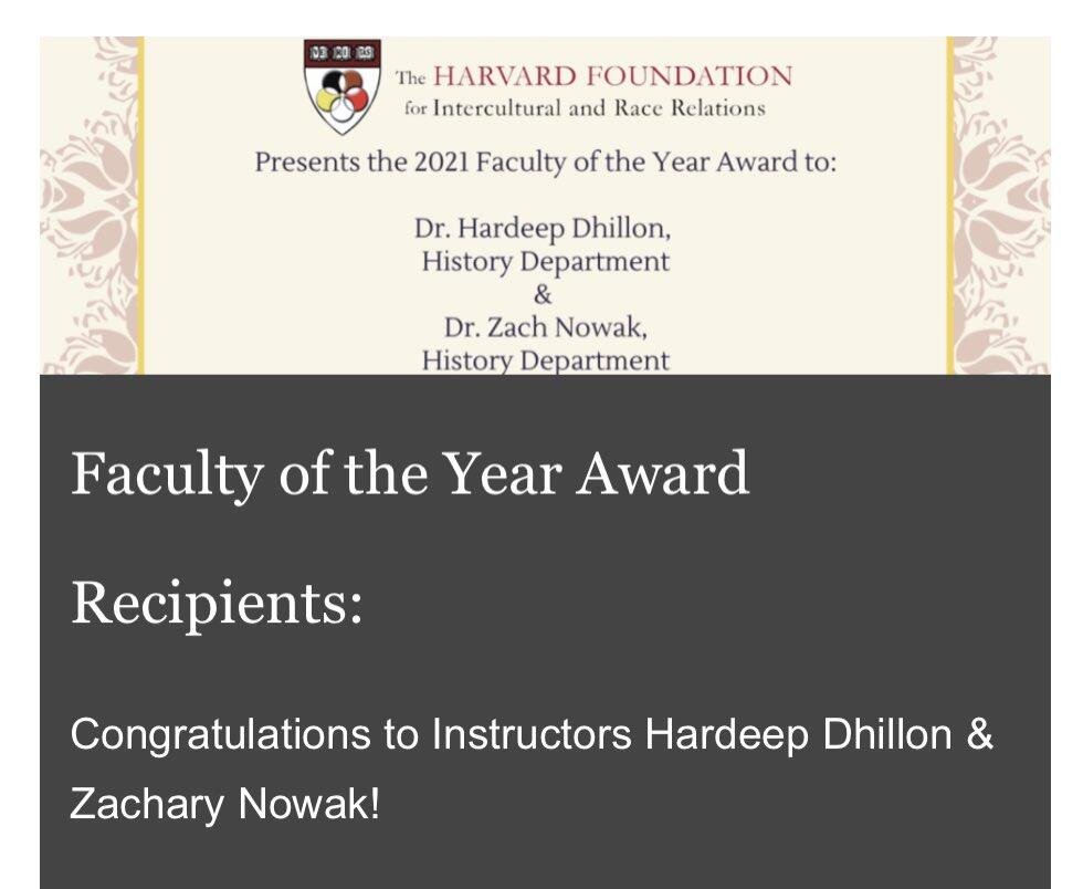 A picture of an award presented to Hardeep Dhillon and Zachary Nowak from Harvard Foundation for Intercultural and Race Relations