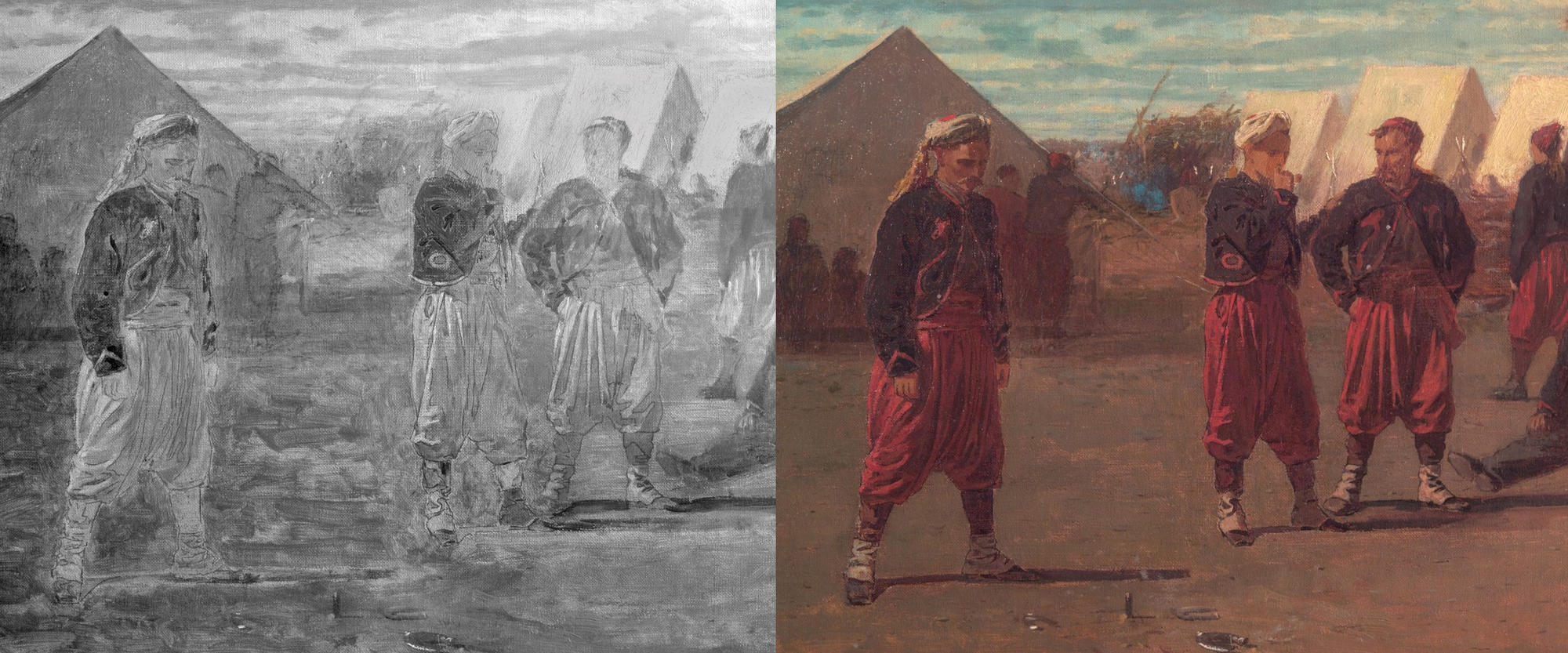 Reflected infrared and normal illumination of detail, Pitching Quoits, Winslow Homer