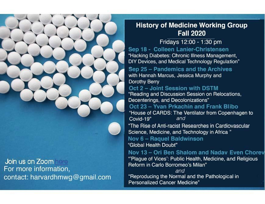 Poster for Fall 2020 HMWG, meetings Oct 23, Nov 6, and Nov 13