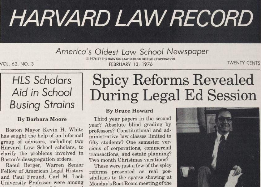 "Front page of the Harvard Law Record, featuring article titled ""Spicy Reforms Revealed During Legal Ed Session"""