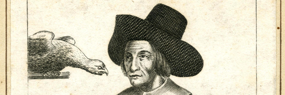 Engraving of Mary Frith three quarter length view in masculine clothing