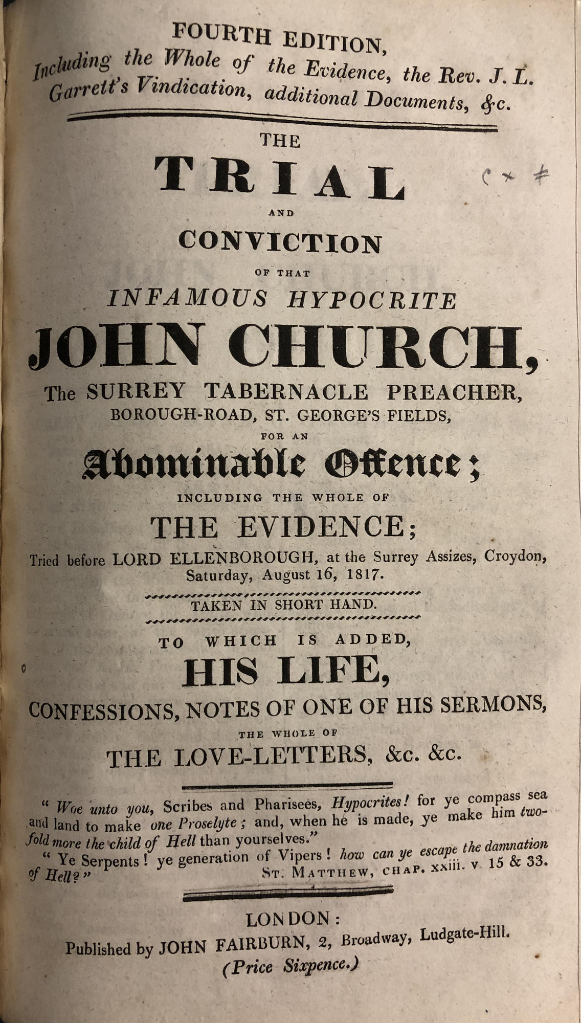Title page of ca. 1817 title about trial of John Church