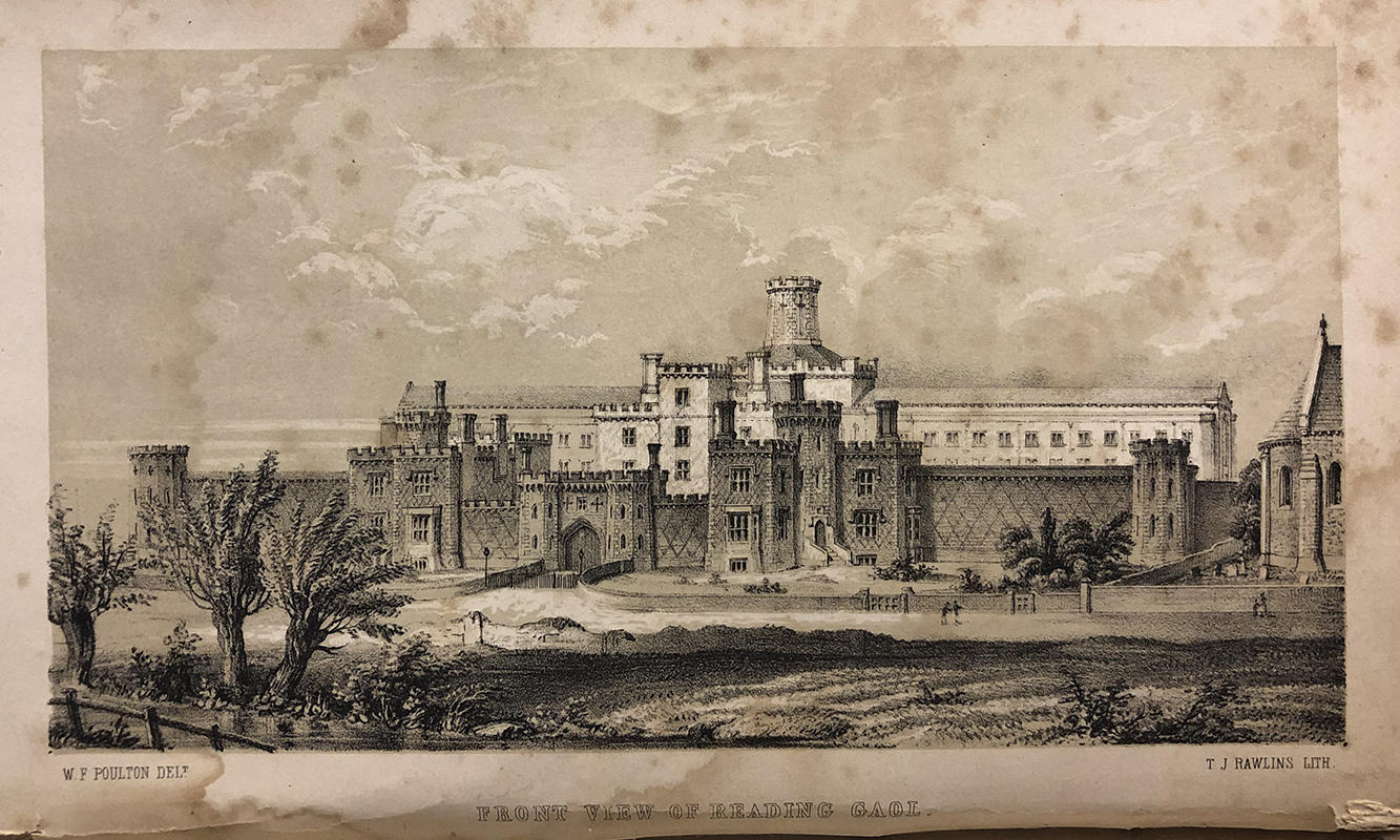 Lithograph of front view of Reading Gaol