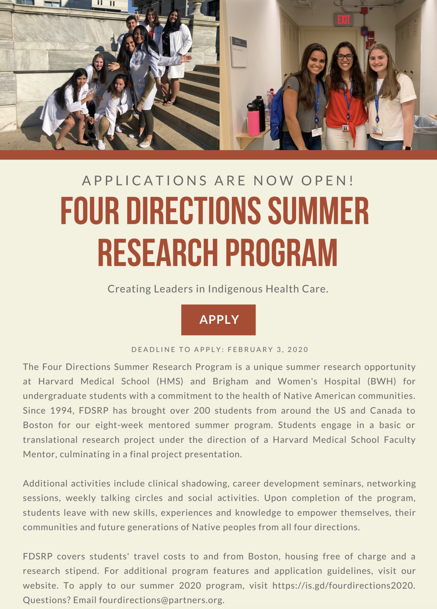 4 Directions Summer Research Program Flyer